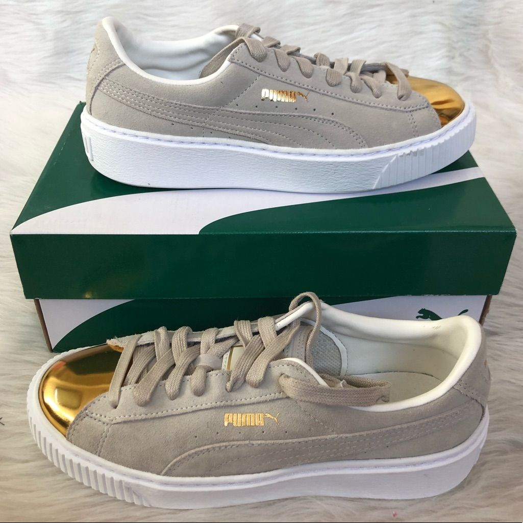 Puma Shoes | Nwt Gold Puma Sneakers | Color: GoldTan | Size
