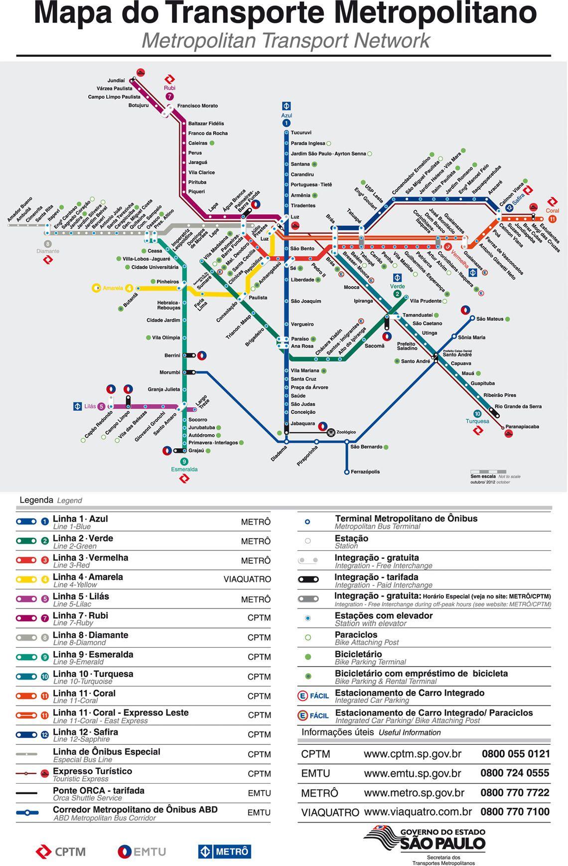 Linhas do metrô e trem em São Paulo