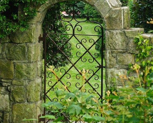 English Garden Patio Gate  Antique Wrought Iron Inspired