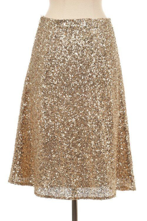 Gold Sequin Midi Skirt | Brooke d'orsay, Gold sequins and Skirts