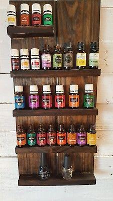 Rustic Country Essential oil / Nail polish wall shelf rack handmade Storage | Pinterest | Shelving Essentials and Storage ideas & Rustic Country Essential oil / Nail polish wall shelf rack handmade ...
