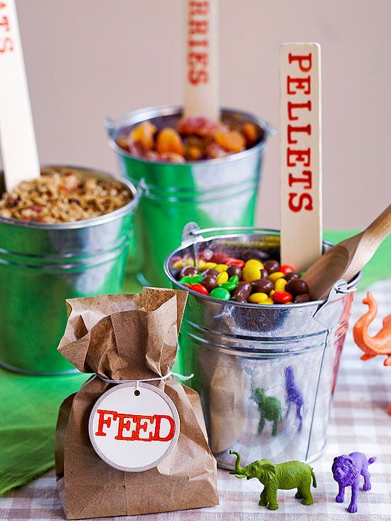 Zoo Birthday Party Trail mix buffet Birthday party ideas and Zoo