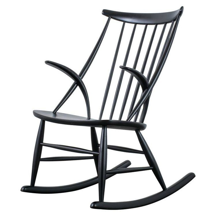 Illum Wikkelso Black Rocking Chair Denmark 1950 S Rocking