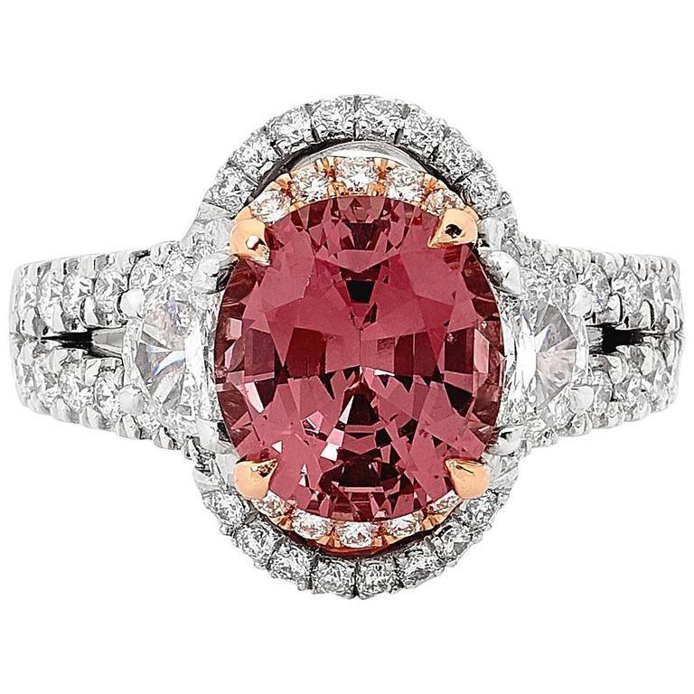 Malaya Garnet Diamond Halo White Gold Cocktail Ring ...