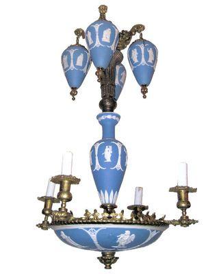 Antique Wedgwood Blue White Jasperware Chandelier   eBay