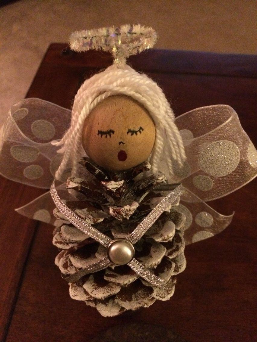 Pinecone Angel Ornament Christmas Ornament Crafts Christmas Angel Crafts Christmas Crafts