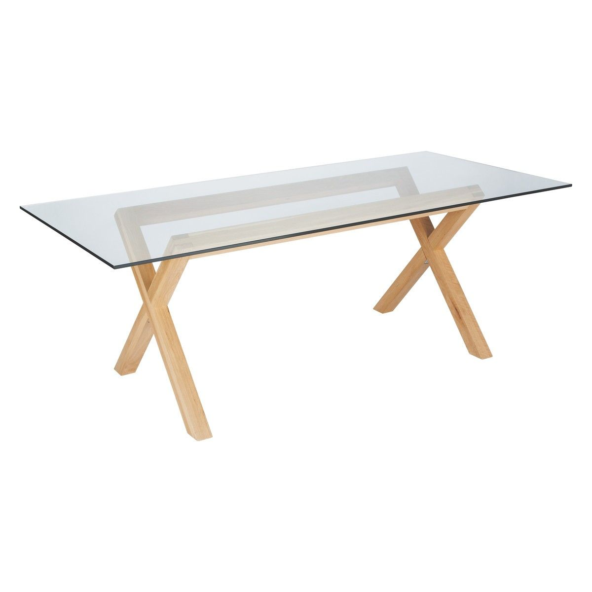 Lagon 160 X 80cm Clear Glass Top For Desks With Kusa Oak Legs