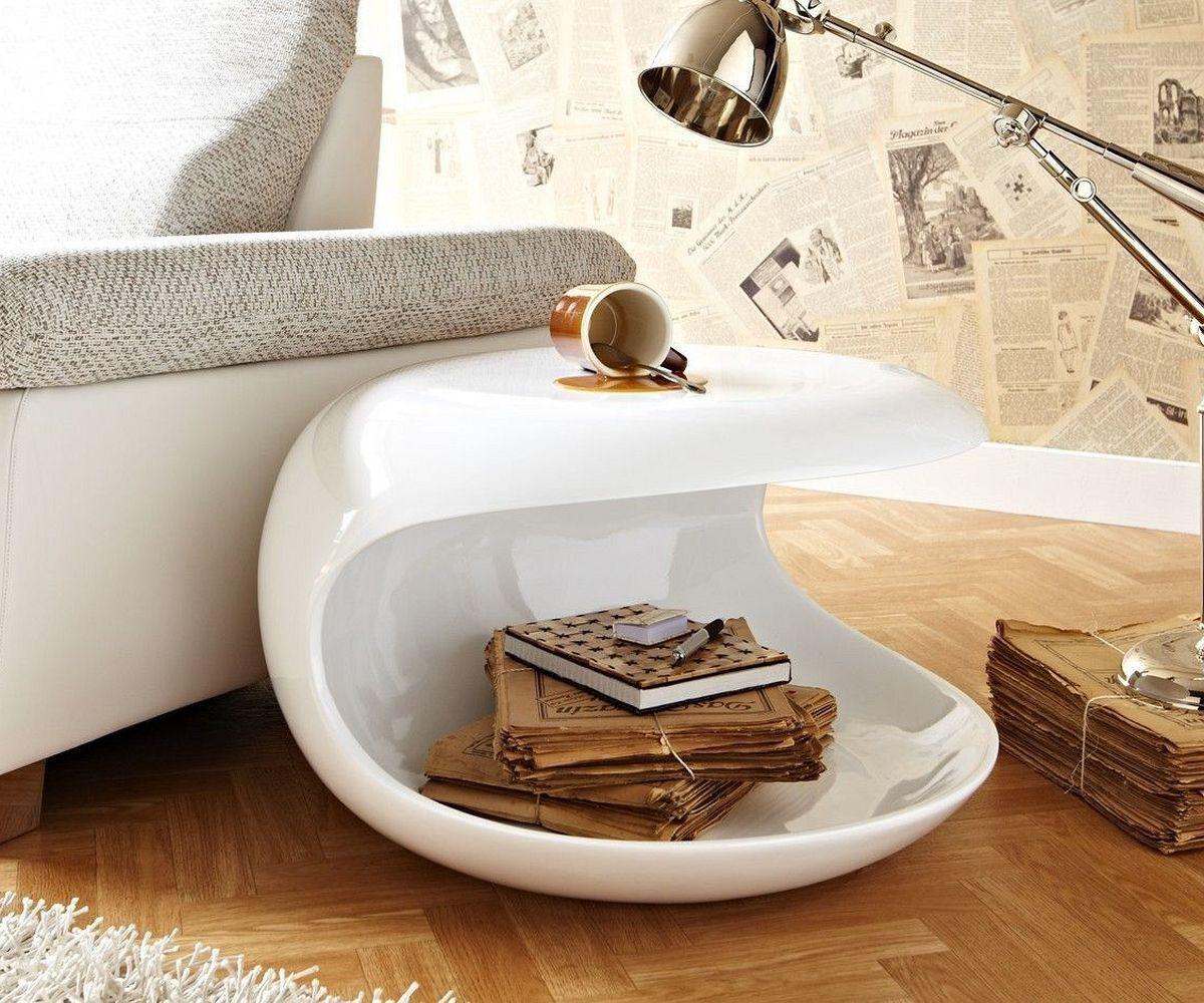 Wohnzimmertisch Weiß Hochglanz Rund : Beistelltisch conch cm weiss hochglanz rund möbel tische