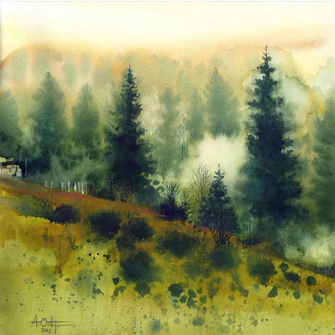 Watercolor Art On Instagram Watercolor By Antonio Ortego Check Out Portraits Magic Ar Landscape Sketch Watercolor Scenery Watercolor Landscape