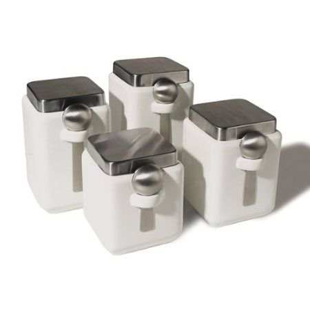 Ceramic Kitchen Canister Sets | Oggi Ceramic Square Canister Set With Stainless  Steel Spoon And Lid