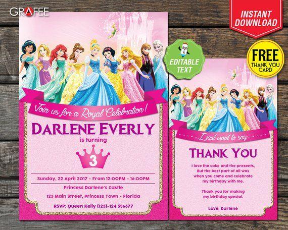 Disney Princess Birthday Invitation Card Party Editable