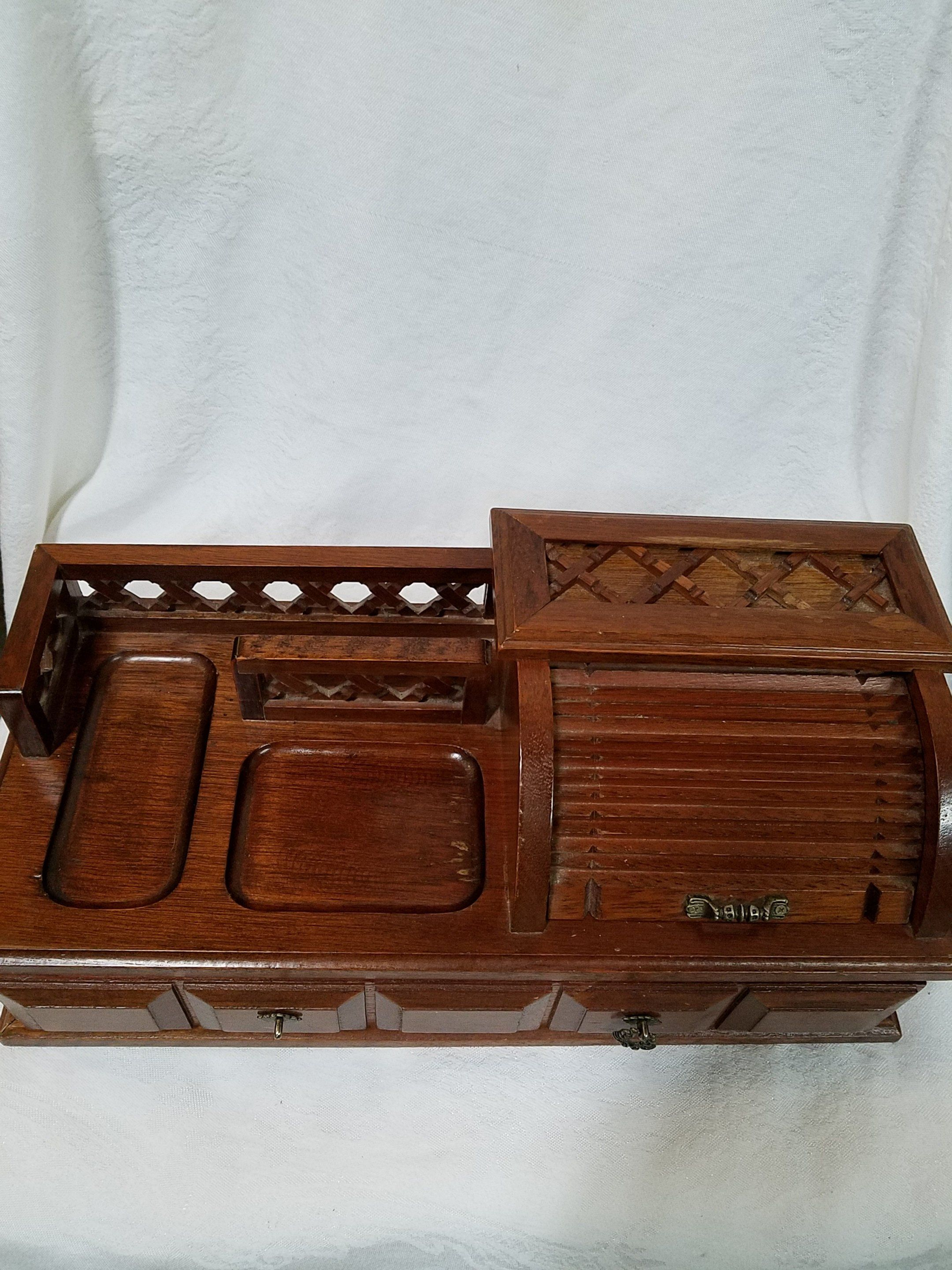 Vintage Wooden Roll Top Dresser Wooden Jewelry Box Roll Top Jewelry Box Coin And Key Storage Men S Je Jewerly Storage Wooden Jewelry Boxes Mens Jewelry Box