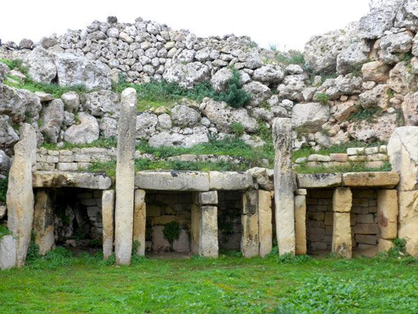 The Ggantija Temples on Gozo, Malta. These structures date back to 3500 to 2500 BC