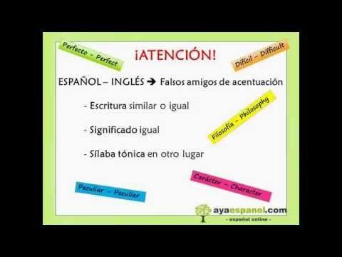 INGLÉS/ESPAÑOL: palabras parecidas con el acento en distinta sílaba.