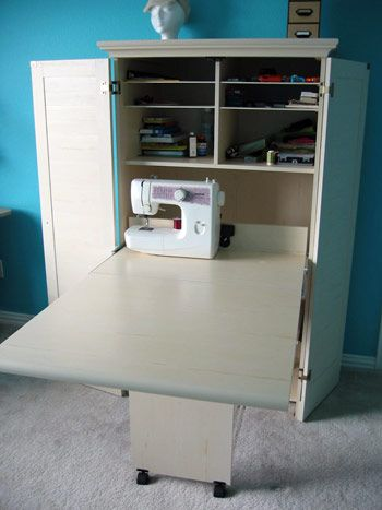 sewing armoire extended   Sewing room organization, Sewing ...