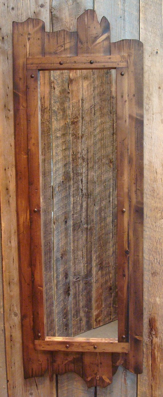 Rustic stained fulllength barnwood mirror x made of real pine