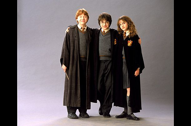 Ron, Harry and Hermione   Rupert Grint, Daniel Radcliffe and Emma Watson in Harry Potter and the Chamber of Secrets, 2002