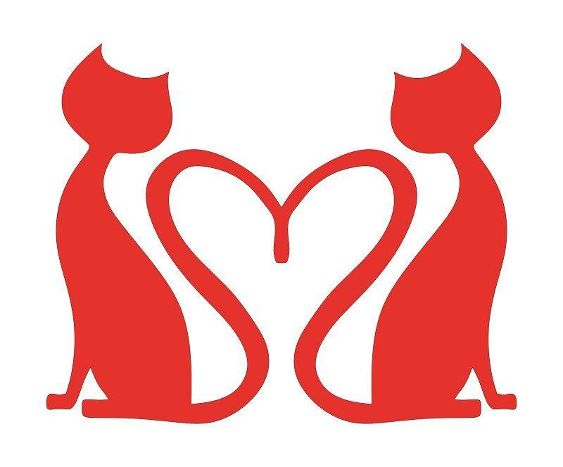 Download Cat Heart Love Stencil Cutout Template, Cat svg, Cat heart ...