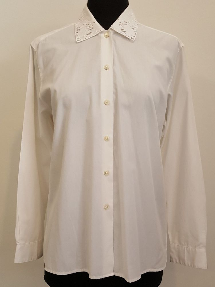 Womens Vintage White Dress Shirt With Rose Collar Size 8 Clothing Shoes Amp Accessories Vintage Women White Shirt Dress White Vintage Dress Lace Collar