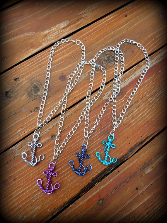 Wire Work Anchor - Nautical Faith and Hope Necklace - Choose your ...