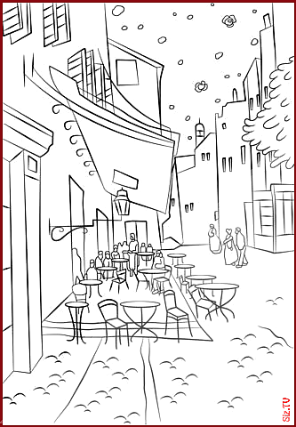 Cafe Terrace At Night By Vincent Van Gogh Coloring Page From Famous Paintings Ca Nature Pictures Blog Cafe Terr Vincent Van Gogh Van Gogh Dibujos Para Colorear