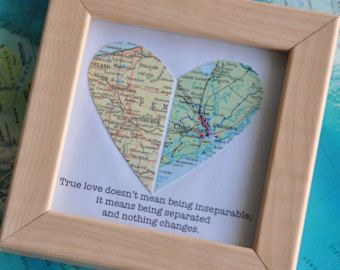 Long Distance Relationship Couple Map Heart Framed With