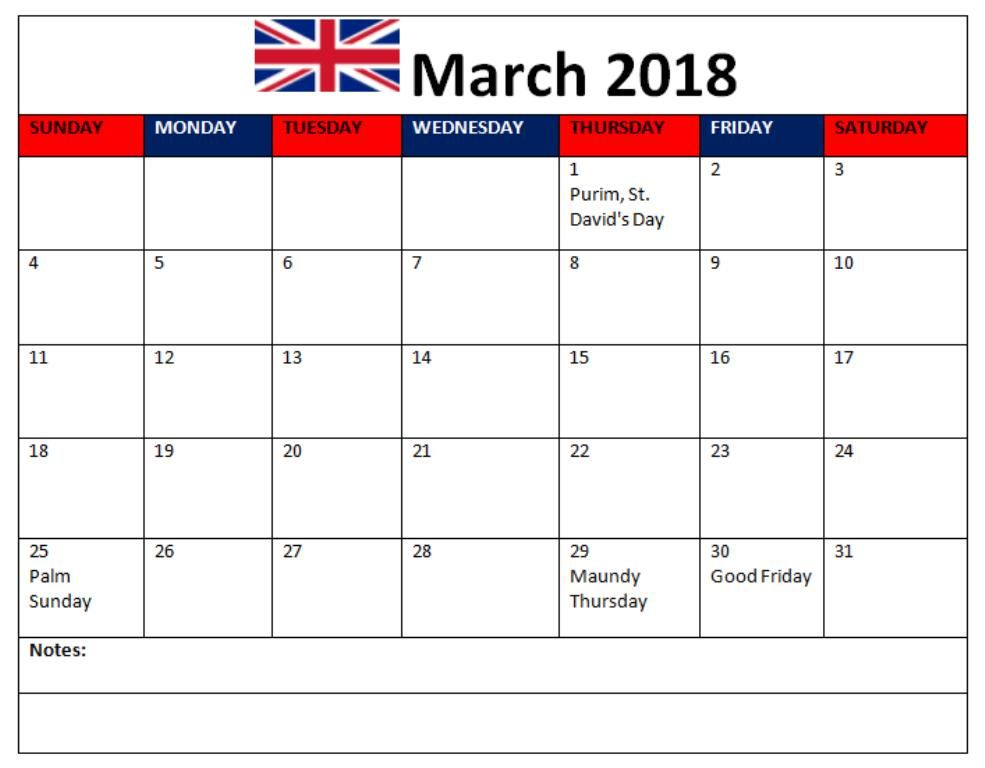 march 2018 calendar england with holidays