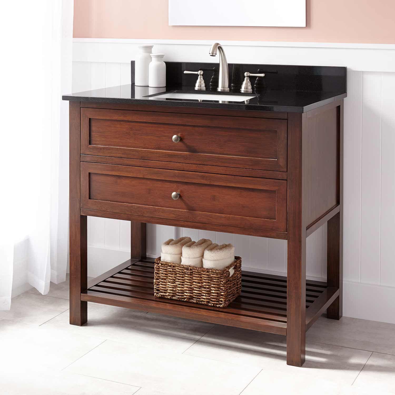 """36"""" Taren Bamboo Vanity for Rectangular Undermount Sink - Light Espresso"""