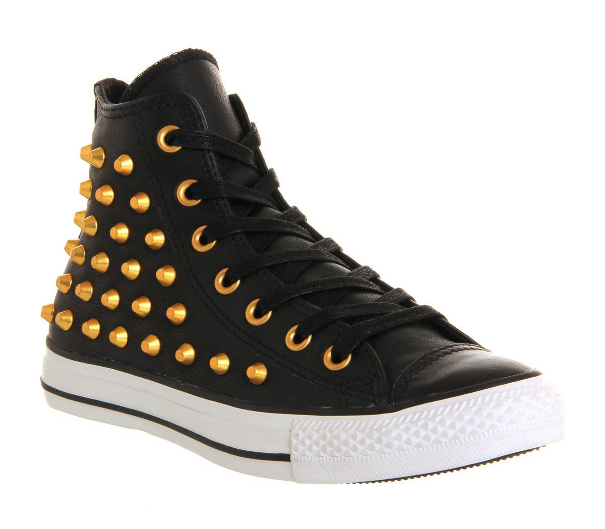 Converse All Star Hi Lthr Unisex Sports Black Gold Studs