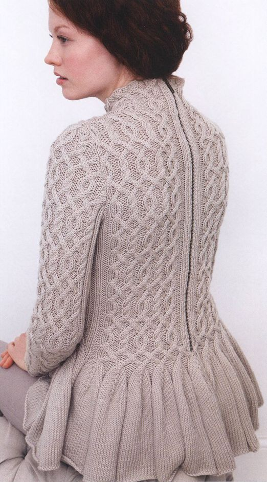 Wavy Peplum Sweater by Jacqueline van Dillen from Creative Cables: 25 Innovat...