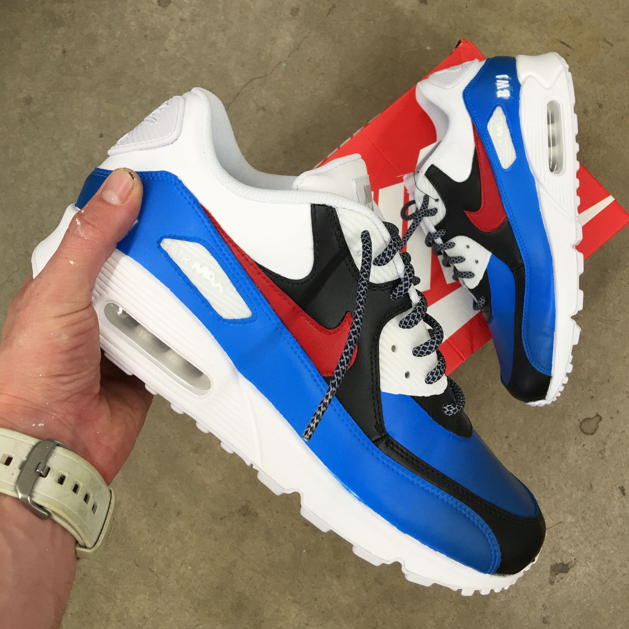 best value 165e3 96891 These custom hand painted Nike AM90 shoes have been specially painted to  have a blue gradient and black section on the uppers. The shoes have been  painted ...