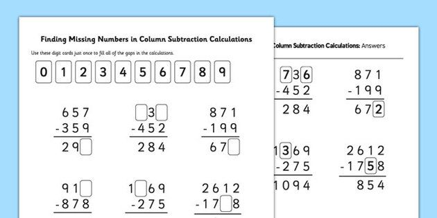 Find Missing Numbers In Column Subtraction Calculations Subtraction Worksheets Math Worksheet Subtraction Subtraction worksheets year twinkl