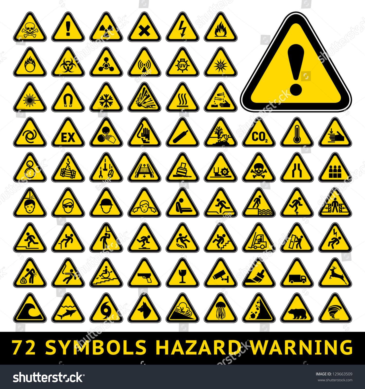 72 Symbols Triangular Warning Hazard Big