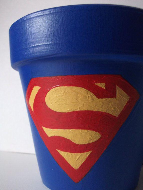 Superman Painted Flower Pot  Man of Steel CUSTOM by GingerPots, $16.00