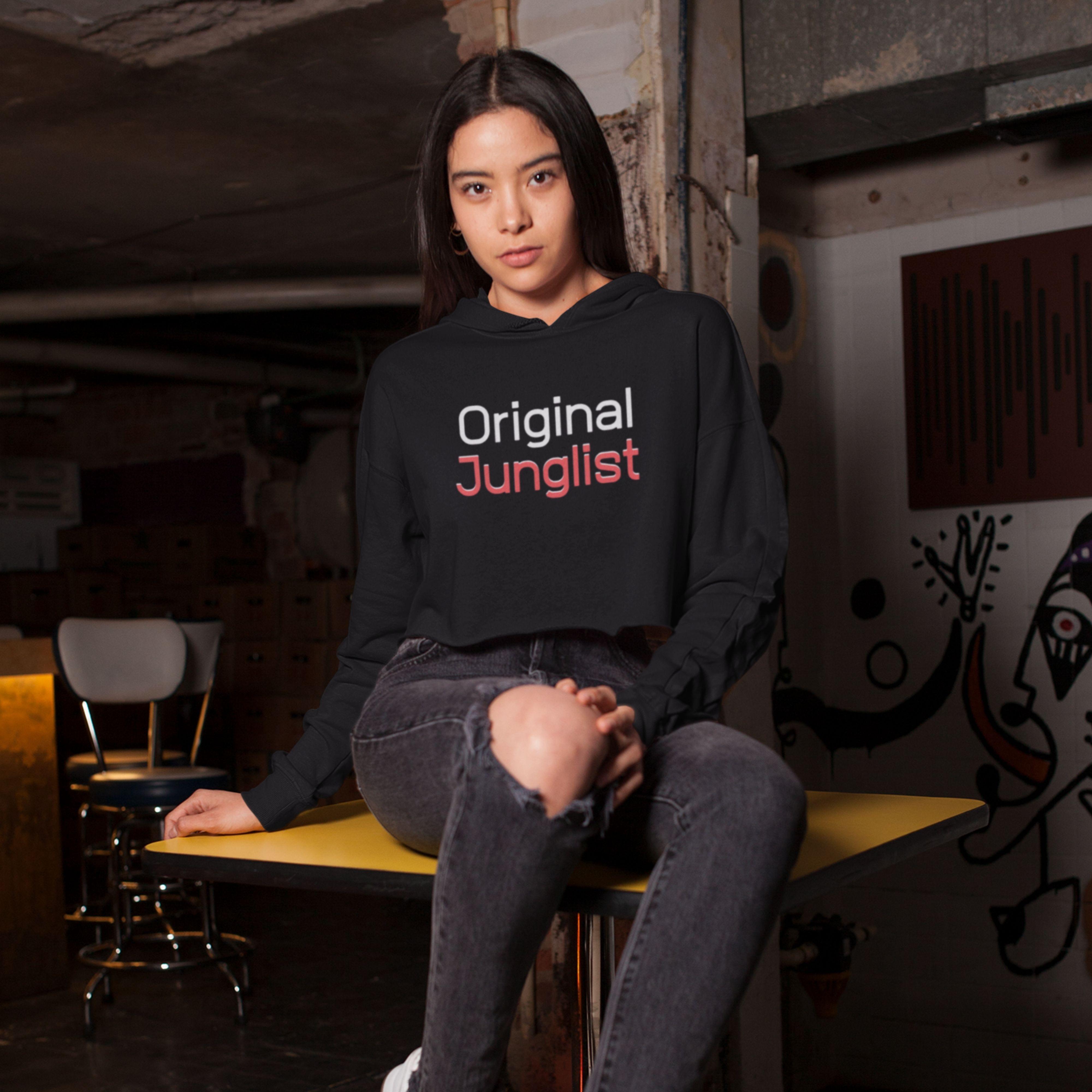 Ladies Original Junglist Cropped Hooded Sweater - XL - 16/18 / Grey