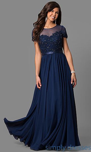 Short-Sleeve Long Prom Dress with Sequined Lace | Pinterest | Lace ...