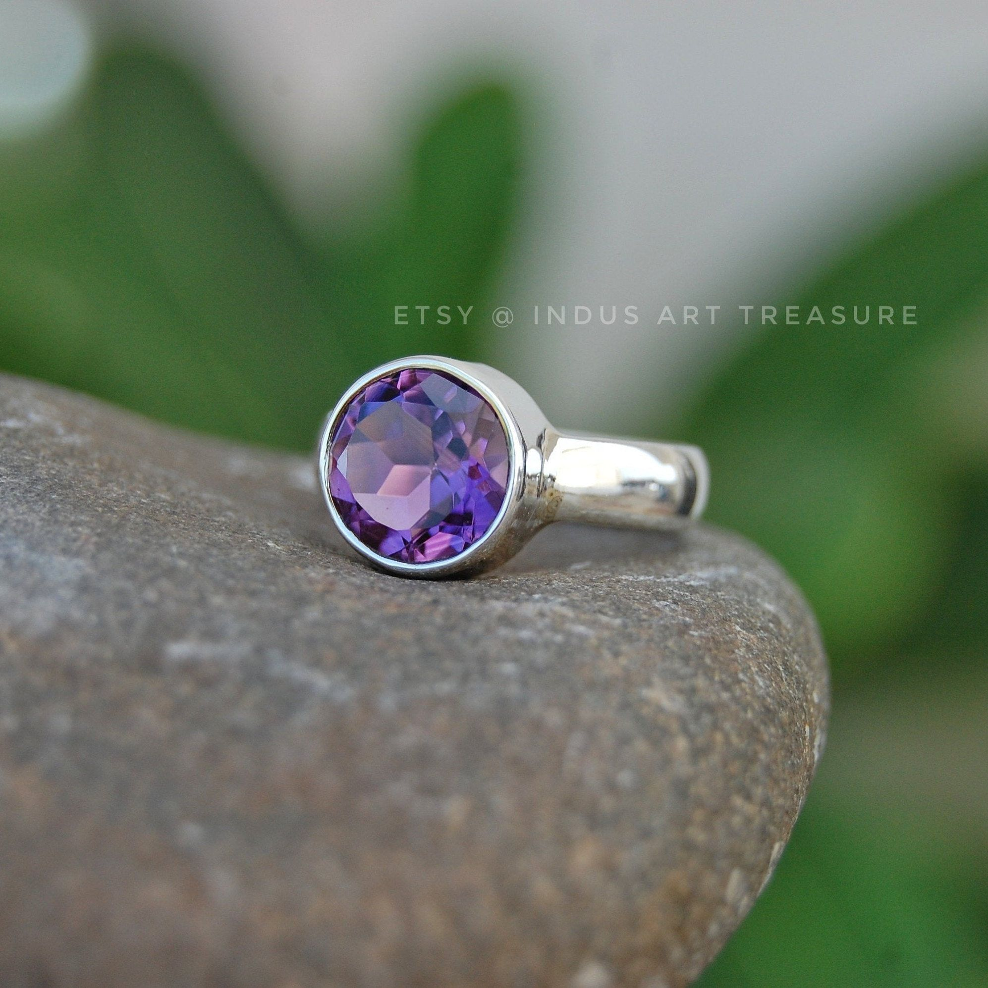 925 Sterling Silver Fashion Ring Ring For Her  Gift B Amethyst Sterling Silver Ring Handmade Ring Birthstone Ring Statement Ring