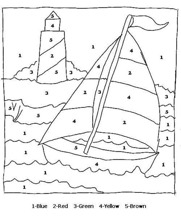 Color By Numbers Sail Boat Coloring Pages Printable Projects to