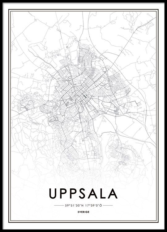 Poster Med Uppsala Karta Whish List Poster Map Poster Prints