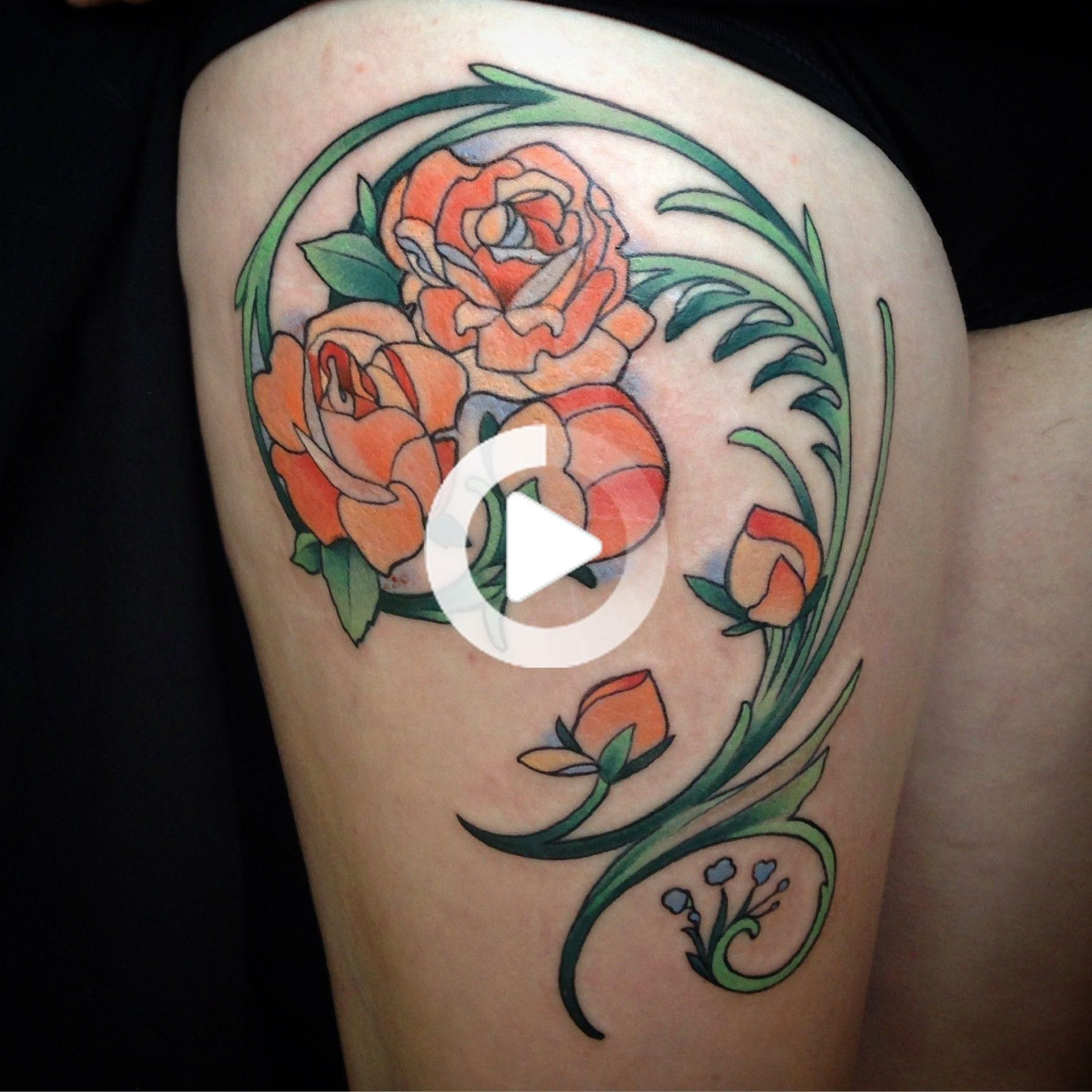 Art nouveau roses thigh tattoo in 2020 thigh tattoo