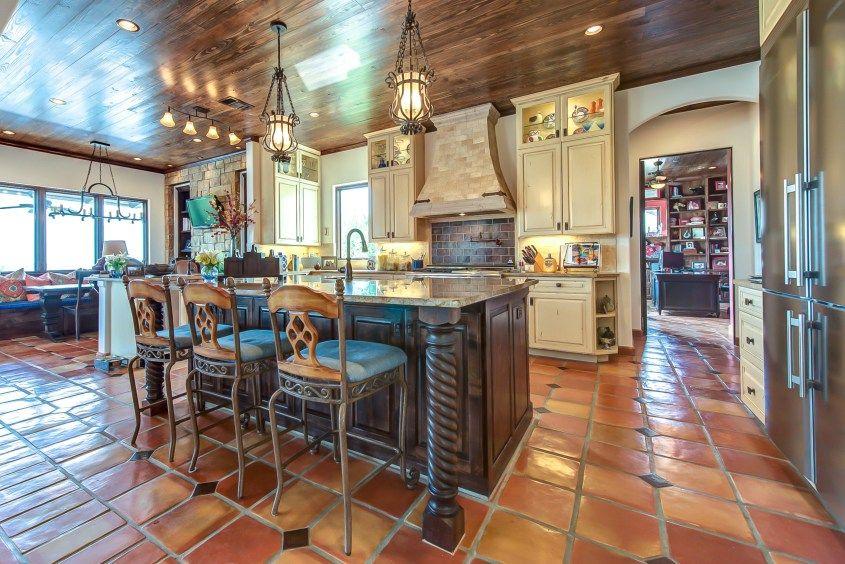 Saltillo Tiles With Cream Cabinets Kitchen Terracotta Floor