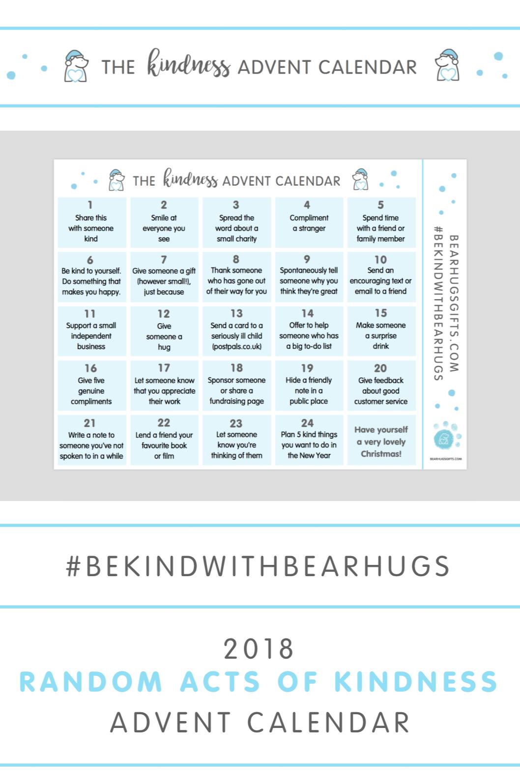 Random Acts of Kindness Advent Calendar — BearHugs - Send a 'Hug in