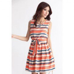 Scoop Neck Stripe Color Block Frenate Corset Laconic Style Dress For Women(Without Belt)
