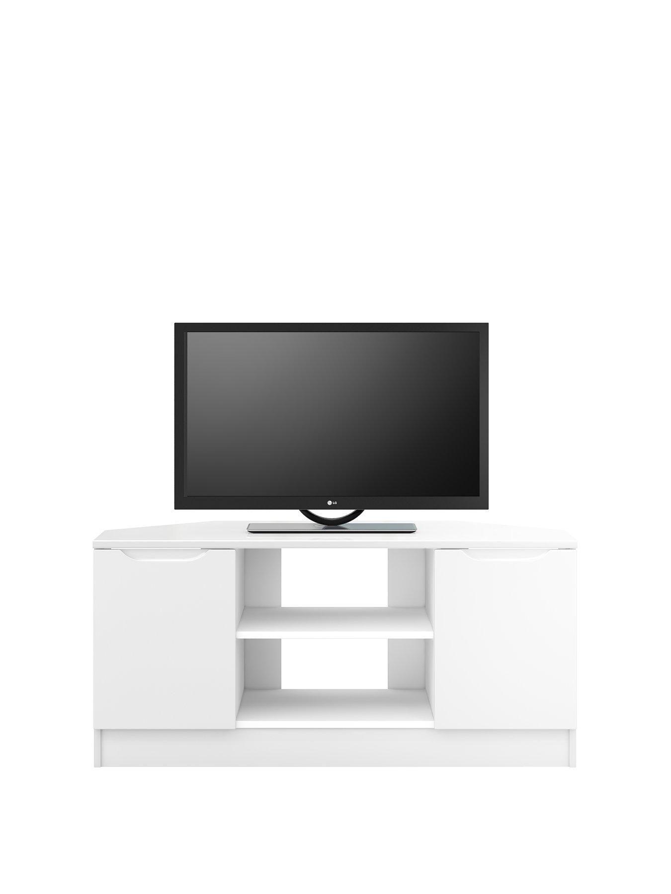 Bilbao Ready Assembled 2 Door High Gloss Corner Tv Unit White Fits Up To 46 Inch Tv Corner Tv Unit Tv Unit Corner Tv