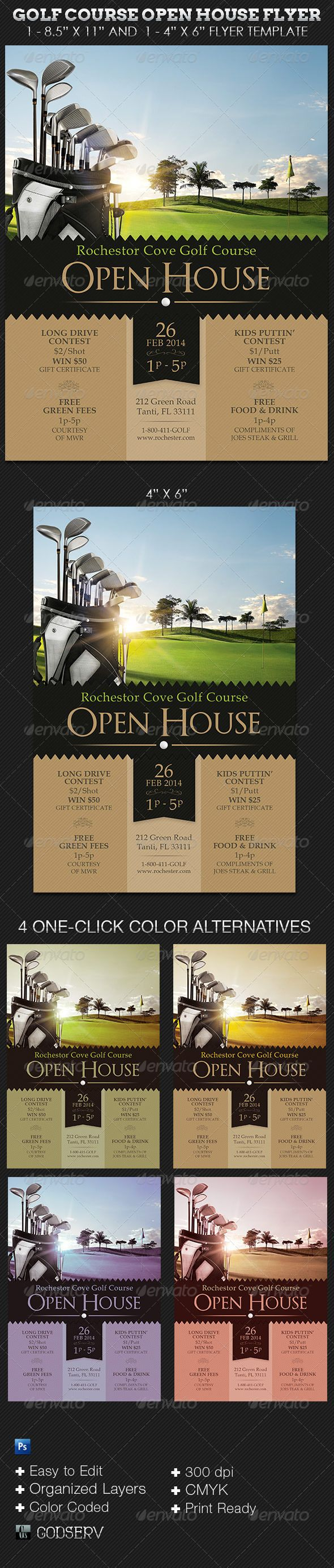 Golf Course Open House Flyer Templates  Golf Party Sports Clubs