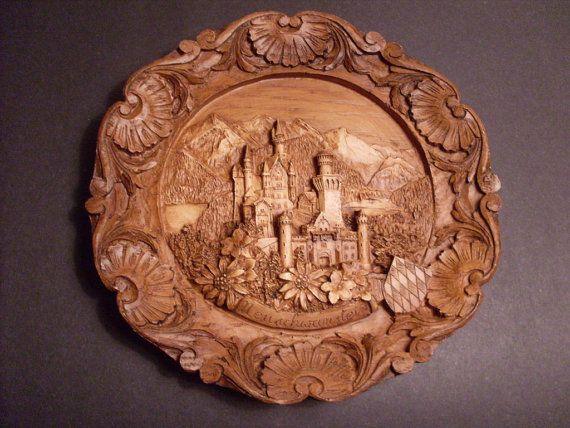 Vintage german carved wooden d plate neuschwanstein