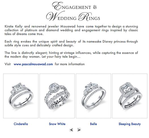 Disney princess wedding rings I like Cinderellas the best