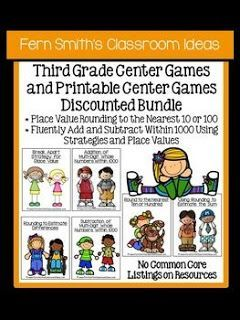 Third Grade Go Math Chapter One Center Games And Printables