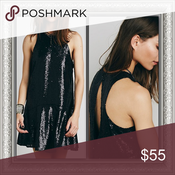 """Free People Sequin Dress ✨Like New!!✨ Free People Liquid Shine Drop Waist Mini Dress  Sparkle all night in this sequin-covered drop waist mini dress; sleeveless, with a back keyhole cutout and hook and eye closures at nape.  Approx. Measurements Total Length: 35"""" Chest/Back Width: 17"""" Waist Width: 18"""" Free People Dresses Mini"""