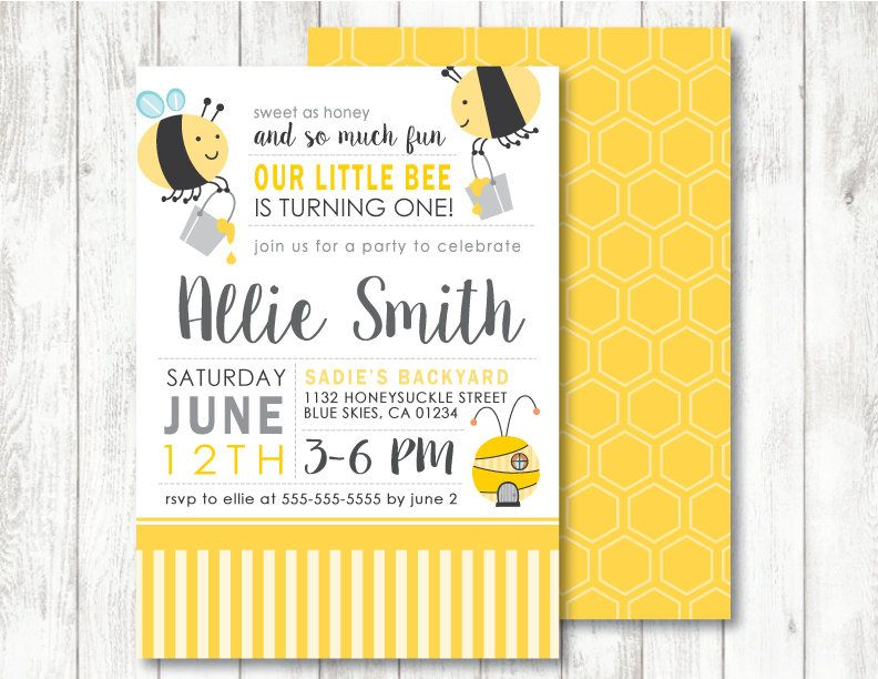 Bee /'Busy Little Bumble Bee/' Theme *Printable First Birthday Invitation* 1st Birthday  Baby Bee Invitation  Bee Baby Shower  Honey Bee
